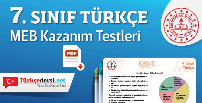 7 Sinif Turkce Meb Kazanim Kavrama Testleri Turkcedersi Net